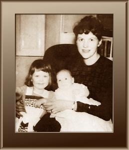 Black and white photograph of Plath with her Children