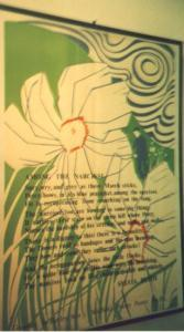 "A painting with the text of ""Among the Narcissi"""