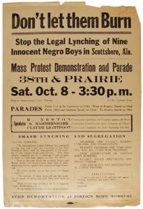 ILD leaflet announcing demonstration, parade, and rally in Chicago for the Scottsboro Boys.